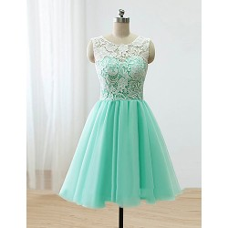 Knee Length Lace Satin Tulle Bridesmaid Dress Sky Blue A Line Scoop