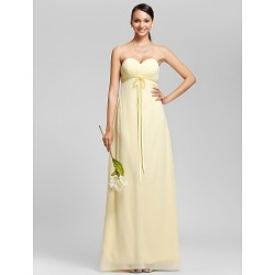 Floor-length Chiffon Bridesmaid Dress - Daffodil Plus Sizes / Petite Sheath/Column Sweetheart / Strapless