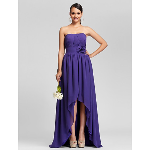 Asymmetrical / Sweep/Brush Train Chiffon Bridesmaid Dress - Regency Plus Sizes / Petite A-line / Princess Strapless Bridesmaid Dresses