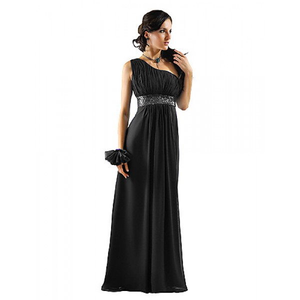 Dress - Ruby / White / Orange / Chocolate / Black / Purple Sheath/Column One Shoulder Floor-length Chiffon Bridesmaid Dresses