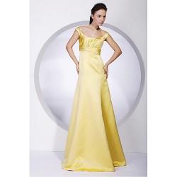 Floor Length Satin Bridesmaid Dress Daffodil Plus Sizes Petite A Line Princess Off The Shoulder