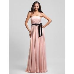 Floor Length Chiffon Bridesmaid Dress Pearl Pink Plus Sizes Petite Sheath Column Strapless