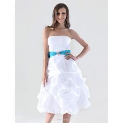 Knee Length Taffeta Bridesmaid Dress White Plus Sizes Petite A Line Princess Strapless