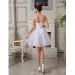 Cocktail Party / Wedding Party Dress - As Picture A-line Strapless Knee-length Lace / Organza Bridesmaid Dresses