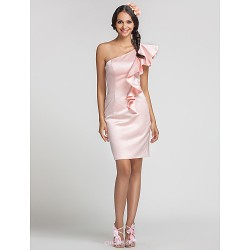 Short Mini Satin Bridesmaid Dress Pearl Pink Plus Sizes Petite Sheath Column One Shoulder