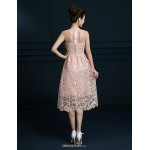Tea-length Lace Bridesmaid Dress - Blushing Pink A-line Jewel Bridesmaid Dresses