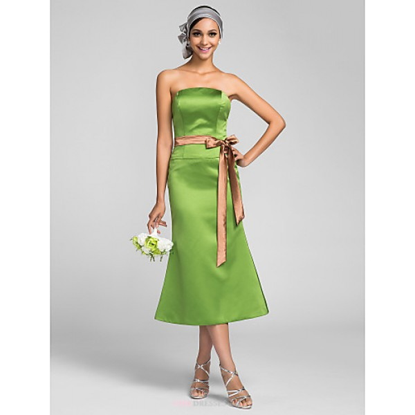 Tea-length Satin Bridesmaid Dress - Clover Plus Sizes / Petite Trumpet/Mermaid Strapless Bridesmaid Dresses