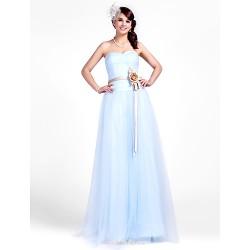 Floor Length Tulle Bridesmaid Dress Sky Blue Plus Sizes Petite A Line Princess Strapless Sweetheart