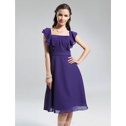 Knee-length Chiffon Bridesmaid Dress - Regency Plus Sizes / Petite A-line Square