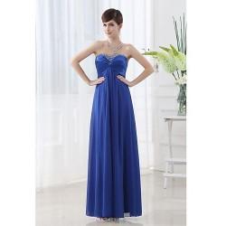 Floor Length Chiffon Bridesmaid Dress Royal Blue A Line Sweetheart