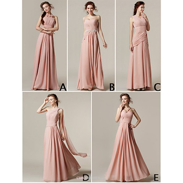 Mix & Match Dresses Floor-length Chiffon 5 Styles Bridesmaid Dresses (3227693) Bridesmaid Dresses