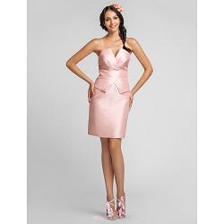 Knee Length Taffeta Bridesmaid Dress Pearl Pink Plus Sizes Petite Sheath Column V Neck