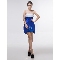 Short Mini Charmeuse Sequined Bridesmaid Dress Royal Blue Sheath Column Strapless