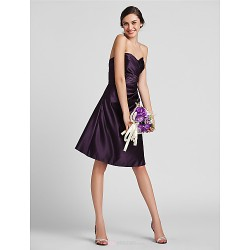 Knee Length Satin Bridesmaid Dress Grape Plus Sizes Petite Sheath Column Sweetheart