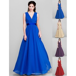 Floor Length Chiffon Bridesmaid Dress Royal Blue Ruby Champagne Grape Plus Sizes Petite A Line V Neck
