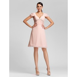 Knee-length Chiffon Bridesmaid Dress - Pearl Pink Plus Sizes / Petite A-line / Princess V-neck