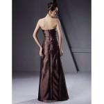 Floor-length Taffeta Bridesmaid Dress - Brown Plus Sizes / Petite A-line / Princess / Sheath/Column Strapless Bridesmaid Dresses
