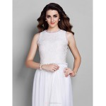 Prom / Military Ball / Formal Evening Dress - White Plus Sizes / Petite Sheath/Column Jewel Ankle-length Chiffon / Lace Bridesmaid Dresses