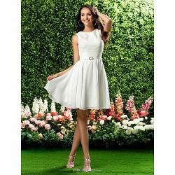 Knee-length Chiffon / Lace Bridesmaid Dress - Ivory Plus Sizes / Petite A-line / Princess Jewel