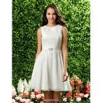 Knee-length Chiffon / Lace Bridesmaid Dress - Ivory Plus Sizes / Petite A-line / Princess Jewel Bridesmaid Dresses