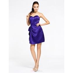 Short/Mini Satin Bridesmaid Dress - Regency Plus Sizes / Petite Sheath/Column Sweetheart / Strapless