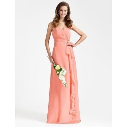 Floor-length Chiffon Bridesmaid Dress - Watermelon Plus Sizes / Petite Sheath/Column Strapless / Sweetheart