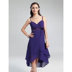 Knee Length Asymmetrical Chiffon Bridesmaid Dress Regency Plus Sizes Petite A Line Princess V Neck Spaghetti Straps