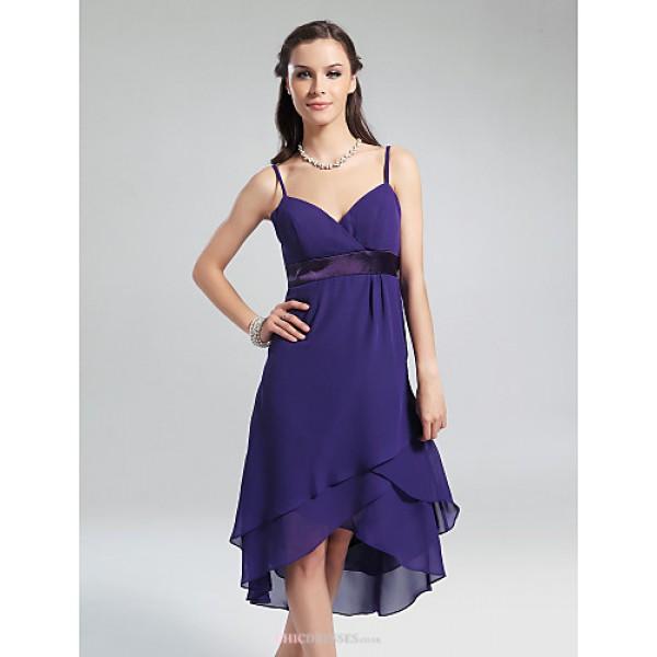 Knee-length / Asymmetrical Chiffon Bridesmaid Dress - Regency Plus Sizes / Petite A-line / Princess V-neck / Spaghetti Straps Bridesmaid Dresses