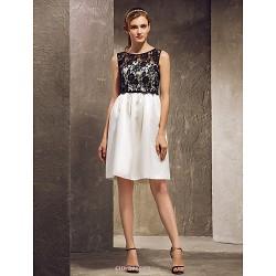 Knee Length Satin Lace Bridesmaid Dress Multi Color Plus Sizes Petite Sheath Column Strapless