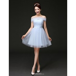 Short/Mini Tulle Bridesmaid Dress - Sky Blue A-line Off-the-shoulder