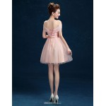Short/Mini Tulle Bridesmaid Dress - Sky Blue A-line Off-the-shoulder Bridesmaid Dresses
