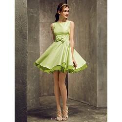 Short/Mini Taffeta Bridesmaid Dress - Sage Plus Sizes / Petite A-line Bateau