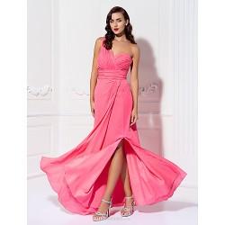 Floor-length Chiffon Bridesmaid Dress - Watermelon Plus Sizes / Petite Sheath/Column One Shoulder