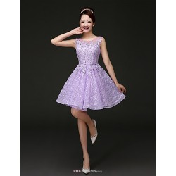 Short/Mini Lace Bridesmaid Dress - Purple A-line Jewel
