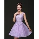 Short/Mini Lace Bridesmaid Dress - Purple A-line Jewel Bridesmaid Dresses