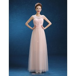 Floor-length Tulle Bridesmaid Dress - Blushing Pink Sheath/Column Scoop
