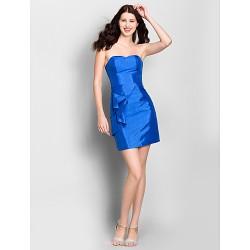 Short Mini Taffeta Bridesmaid Dress Royal Blue Sheath Column Strapless