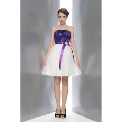 Knee Length Lace Tulle Bridesmaid Dress Multi Color A Line Strapless