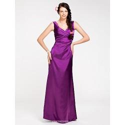 Floor Length Stretch Satin Bridesmaid Dress Grape Plus Sizes Petite Sheath Column V Neck