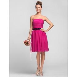 Knee Length Chiffon Bridesmaid Dress Fuchsia Plus Sizes Petite A Line Princess Strapless