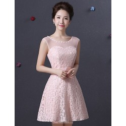 Knee Length Lace Bridesmaid Dress Blushing Pink Spaghetti Straps