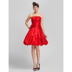 Knee Length Taffeta Bridesmaid Dress Ruby Plus Sizes Petite A Line Princess Strapless