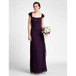 Floor Length Chiffon Bridesmaid Dress Grape Plus Sizes Petite Sheath Column Scalloped