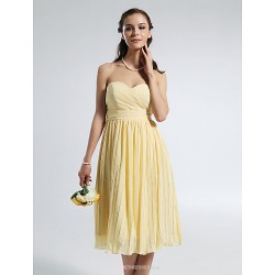 Knee Length Chiffon Bridesmaid Dress Daffodil Plus Sizes Petite A Line Strapless Sweetheart