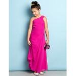 Ankle-length Chiffon Junior Bridesmaid Dress - Fuchsia Sheath/Column One Shoulder Junior Bridesmaid Dresses
