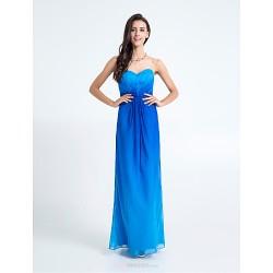 Floor Length Chiffon Bridesmaid Dress Royal Blue Sheath Column Sweetheart