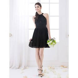 Short Mini Chiffon Bridesmaid Dress Black Plus Sizes Petite Sheath Column High Neck
