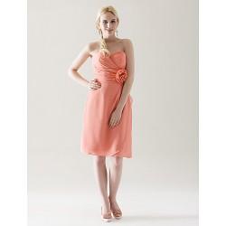 Knee Length Chiffon Bridesmaid Dress Watermelon Plus Sizes Petite Sheath Column Strapless Sweetheart