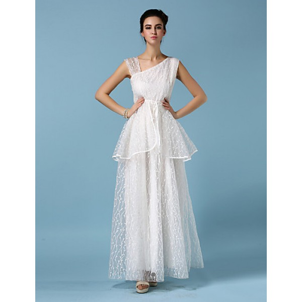 Ankle-length Organza Bridesmaid Dress - White Ball Gown Straps Bridesmaid Dresses
