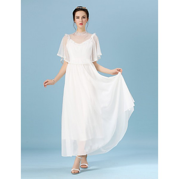 Ankle-length Chiffon / Lace / Tulle Bridesmaid Dress - White Ball Gown Jewel Bridesmaid Dresses